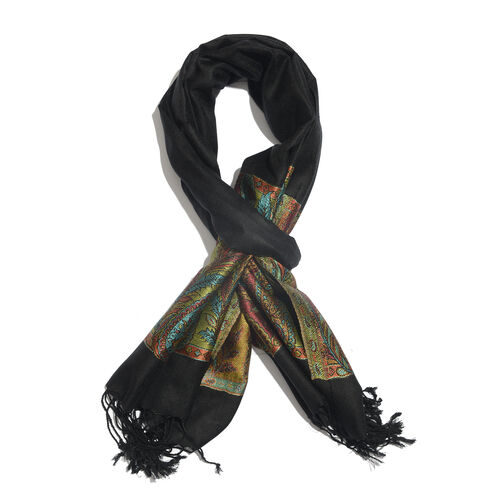 SILK MARK - 100% Superfine Silk Black, Orange and Multi Colour Paisley and Leaves Pattern Jacquard Jamawar Scarf with Tassels (Size 180x70 Cm) (Weight 125 - 140 Gms)