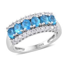 Malgache Neon Apatite (Ovl), Natural Cambodian Zircon Ring in Platinum Overlay Sterling Silver 1.100