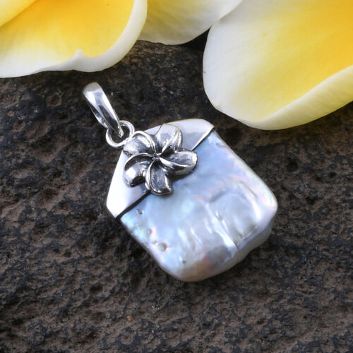 Royal Bali Collection - Fresh Water Pearl Flower Pendant in Sterling Silver