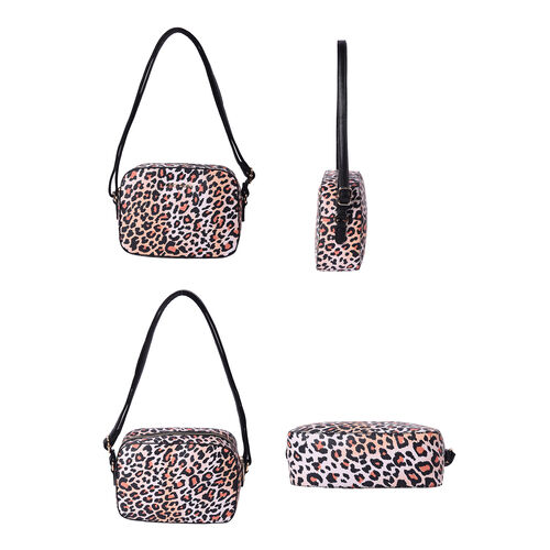 LOCK SOUL Orange and Black Leopard Pattern Crossbody Bag