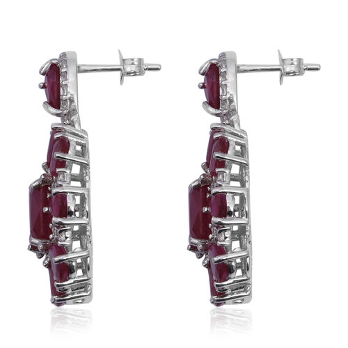 African Ruby (Cush), Natural Cambodian White Zircon Earrings in Rhodium Overlay Sterling Silver 21.220 Ct, Silver wt 7.50 Gms.