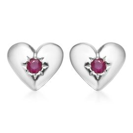 AA African Ruby Heart Stud Earrings (with Push Back) in Platinum Overlay Sterling Silver 0.50 Ct.