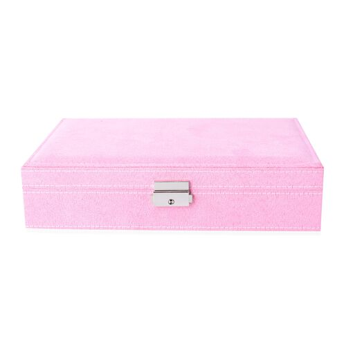 Velvet Multiple Compartment Jewellery Box with Lock (Size 28x18.5x6.5 Cm) - Pink
