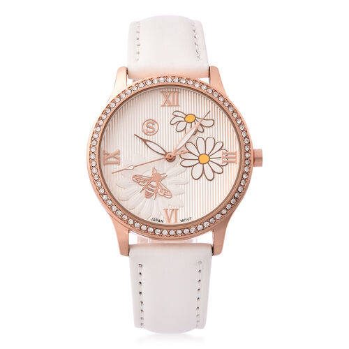 STRADA Japanese Movement White Austrian Crystal Studded Flower Bee Dial Water Resistant Watch with W