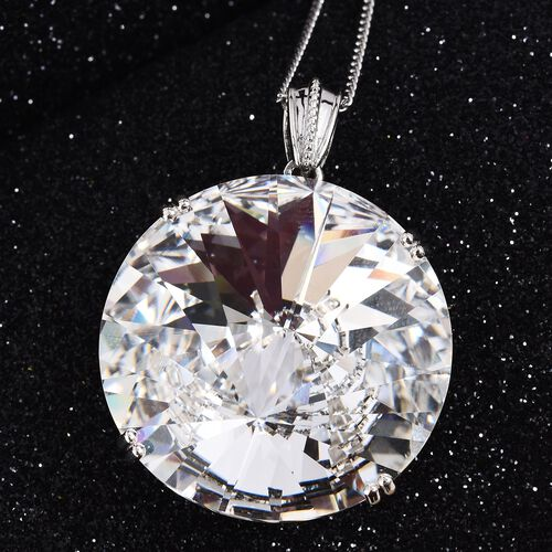 J Francis Crystal from Swarovski White Crystal (Rnd) Pendant With Chain (Size 30) in Platinum Overlay Sterling Silver, Silver wt 16.09 Gms.