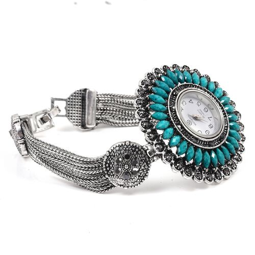 STRADA Japanese Movement Water Resistant Watch with Studded Grey Austrain Crystal, Simulated Turquoise and Antique Silver Alloy Strap in Silver Plated.