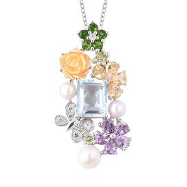 Jardin Collection - Yellow Mother of Pearl and Freshwater Pearl and Multi Gemstone Pendant With Chai