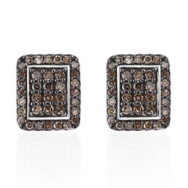 Natural Champagne Diamond (Rnd) Earrings (with Push Back) in Platinum Overlay Sterling Silver 0.500 Ct.