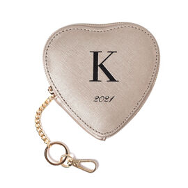 OTO- 100% Genuine Leather K Initial Heart Shape Coin Card / Purse with Key Chain in Gold Colour (Siz