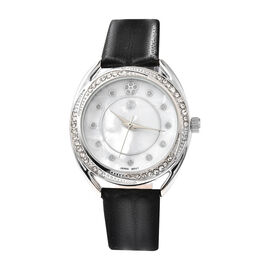 STRADA Japanese Movement White Crystal Studded Water Resistant Watch with Black Strap