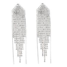 White Austrian Crystal Waterfall Earrings in Silver Tone