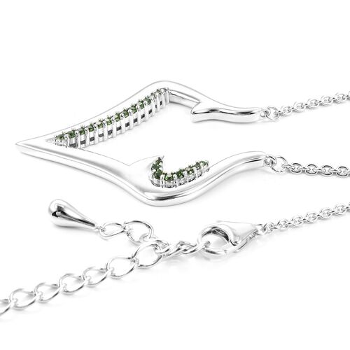 Lucy Q Russian Diopside (Rnd) Necklace (Size 16 with 4 inch Extender) in Rhodium Overlay Sterling Silver Silver Wt 13.00 Grams