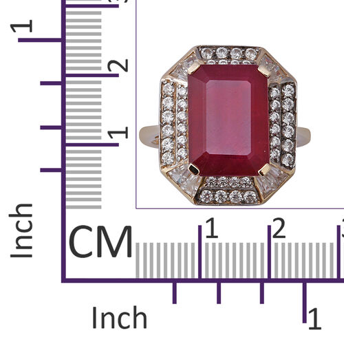 9K Yellow Gold AAA African Ruby and Natural Cambodian Zircon Ring 12.83 Ct.