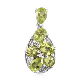 2.50 Ct AA Hebei Peridot and Zircon Cluster Pendant in Platinum Plated Sterling Silver