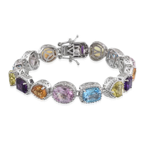 Mystic Pink Coated Topaz, Swiss Blue Topaz, Citrine, Amethyst and Multi Gemstone Bracelet (Size 7.25) in Platinum Overlay Sterling Silver 24.142 Ct. Silver wt 23.50 Gms.