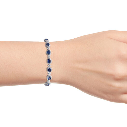 Himalayan Kyanite (Ovl), Natural Cambodian Zircon Bracelet (Size 7.5) in Platinum Overlay Sterling Silver 17.500 Ct, Silver wt 13.00 Gms.