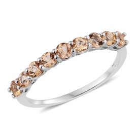 Imperial Topaz (Rnd) Half Eternity Ring in Platinum Overlay Sterling Silver 1.000 Ct.