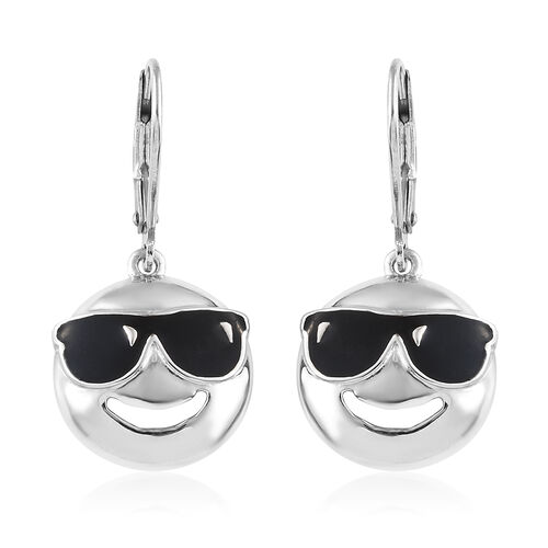 Platinum Overlay Sterling Silver Smiling Face with Sunglasses Smiley  Lever Back Earrings.