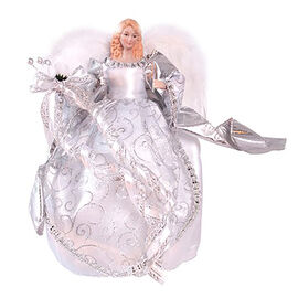 30cm Silver Tree Top Angel with Feathered Wings