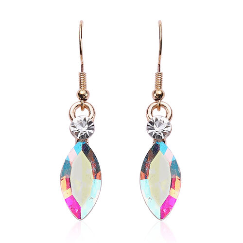 2 Piece Set - Simulated Mercury Mystic Topaz and White Austrian Crystal Necklace (Size 22 with 2 inch Extender) and Hook Earrings in Gold Tone
