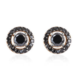 Black Diamond (Rnd) Stud Earrings (with Push Back) in 14K Gold Overlay Sterling Silver 0.750 Ct.