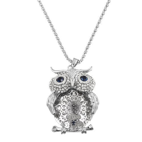 Austrian White and Blue Crystal (Rnd) Owl Pendant with Chain (Size 30 with 2 Inch Extender) in Silver Plated