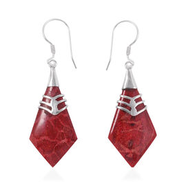 Royal Bali Collection - Sponge Coral Hook Earrings in Sterling Silver
