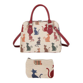 Signare Tapestry - Cheeky Cat Print Shoulder Bag with Coin Pouch - Beige