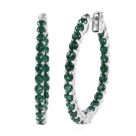 Lustro Stella Simulated Emerald Hoop Earrings in Rhodium Plated Silver