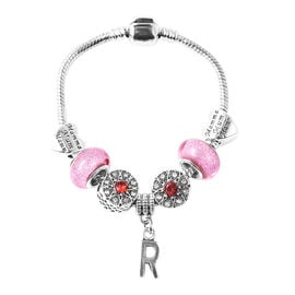 R Initial Charm Bracelet for Children in Simulated Pink Colour Bead, Red and White Austrian Crystal