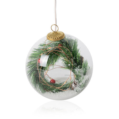Green Pine Branches Ball LED Light (Size 12 Cm) White and Green Colour