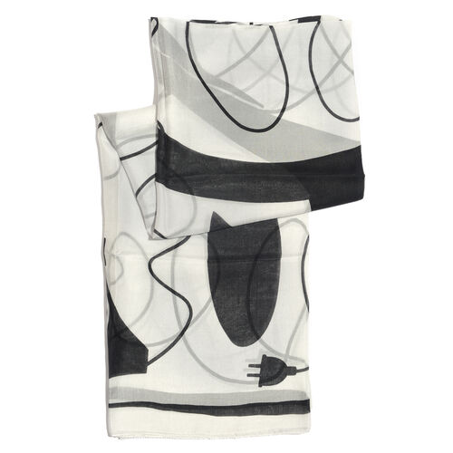 100% Mulberry Silk Off White, Grey and Multi Colour Handscreen Printed Scarf (Size 180x100 Cm)