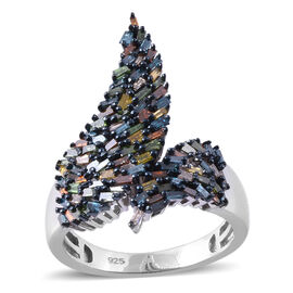 Multi Colour Diamond (Bgt) Ring in Platinum and Black Overlay Sterling Silver 1.000 Ct.