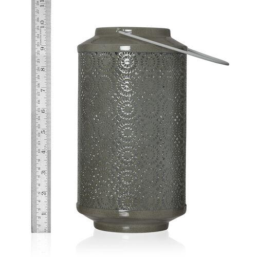 (Option 1) Home Decor - Grey Colour Laser Cut Floral Pattern Lantern with LED T Light
