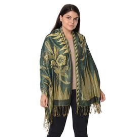 Dark Green and Gold Colour Floral Pattern Winter Scarf (Size 68x170x7.6 Cm)