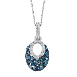 Blue Diamond (Bgt and Rnd), White Diamond Pendant with Chain in Blue and Platinum Overlay Sterling Silver 0.330 Ct