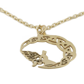 9K Yellow Gold Fairy on Crescent Moon Adjustable Pendant with Chain (Size 16 with 2 inch Extender)