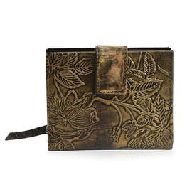 100% Genuine Leather Gold  Colour Hand Printed Embossed Floral Pattern Wallet With RFID Blocker (Size 12x10 Cm)