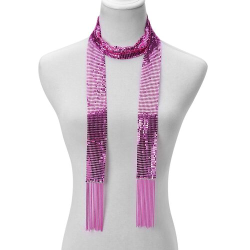 Scarf Style Necklace or Belt (Size 58 inch) in Pink Tone