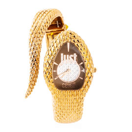 JUST CAVALLI: Poison Swiss Movement Bangle Watch - Serpent Design Water Resistant in Gold Plated