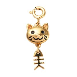 14K Gold Overlay Sterling Silver Enamelled Cat Charm