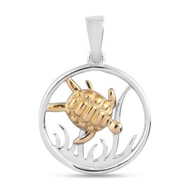 Platinum and Yellow Gold Overlay Sterling Silver Pendent
