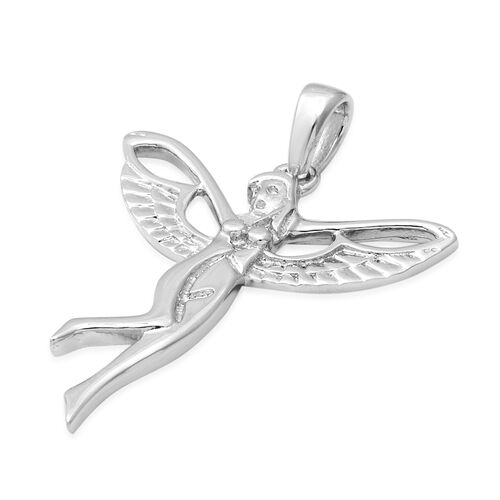 Fairy Pendant in Rhodium Overlay Sterling Silver