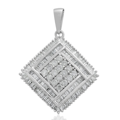 9K White Gold SGL Certified Diamond (Rnd) (I3/G-H) Pendant 1.000 Ct. Gold wt 3.76 Gms. Number of Diamonds 140