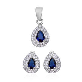 2 Piece Set - ELANZA Simulated Blue Sapphire (Pear), Simulated Diamond Pendant and Earrings (with Cl