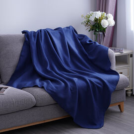 Solid Colour Fleece Blanket with Horse Stitching (Size: 130x170cm) - Navy