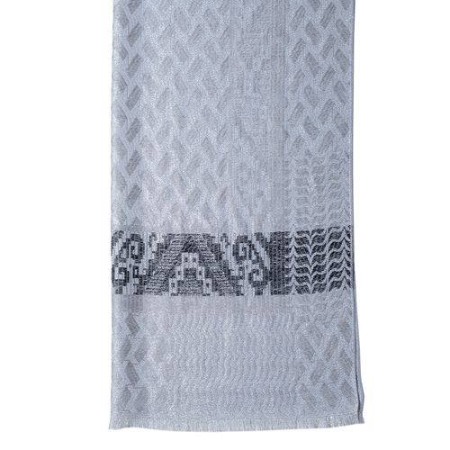 Grey, Silver and Black Colour Scarf with Geometric Drawing and Strip Pattern (Size 190x70 Cm)