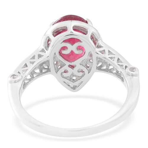 AAA African Ruby (Pear 4.25 Ct), Natural White Cambodian Zircon Ring in Rhodium Plated Sterling Silver 5.150 Ct.