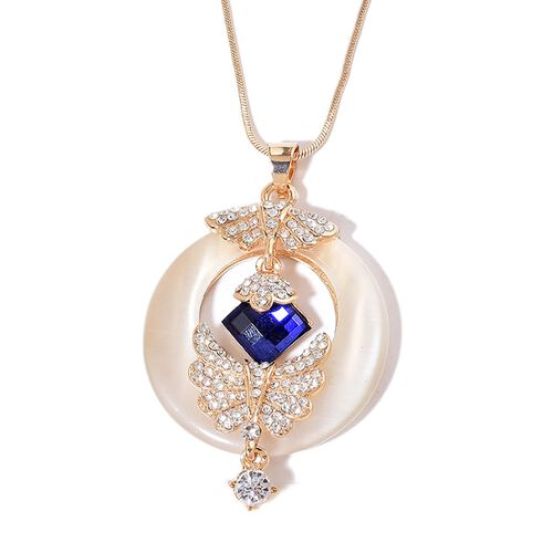 Simulated Tanzanite, Simulated White Cats Eye and White Austrian Crystal Angel Wings Pendant With Chain in Yellow Gold Tone
