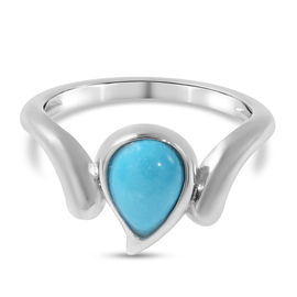 LucyQ Raindrop Collection Arizona Sleeping Beauty Turquoise Ring in Rhodium Overlay Sterling Silver